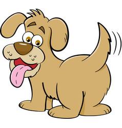 Cartoon happy dog looking backwards vector