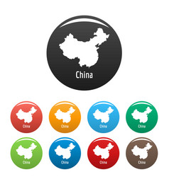 China map in black set simple vector