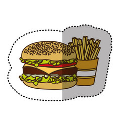 color hamburger and fries french icon vector image vector image