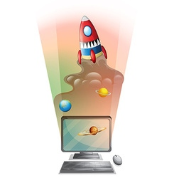 Computer screen with rocket ship in space vector image vector image