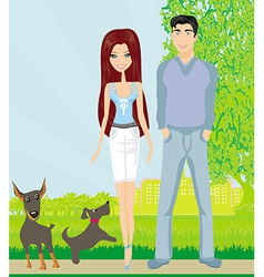 Couple on a walk with the dogs vector