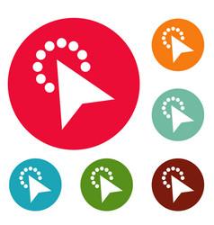 cursor modern click icons circle set vector image vector image