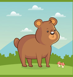 Cute bear animal with landscape vector