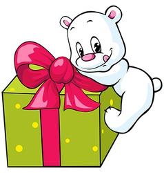Cute polar bear unwrapping gift vector