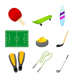 different sport items icon vector image vector image