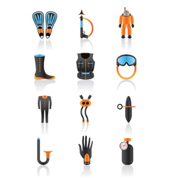 Diving equipmment icon set vector image