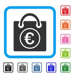 Euro shopping bag framed icon vector