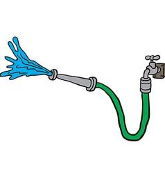Faucet with garden hose vector