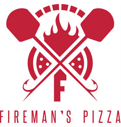 Firemans pizza concept with oven and peels vector