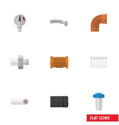 flat icon plumbing set of radiator pressure vector image vector image