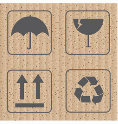 Fragile symbol and symbol of packing box icon vect vector