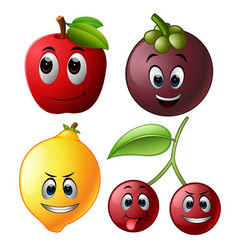 fresh fruit with face vector image