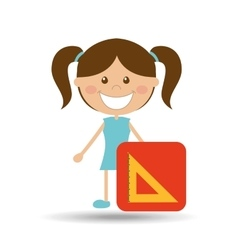 happy girl student school squad icon vector image vector image