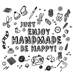Happy handmade black and white card vector