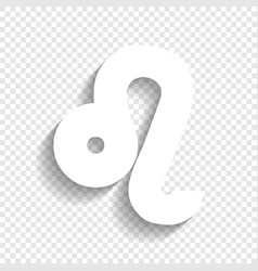 Leo sign white icon with vector