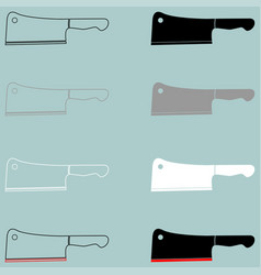 Meat knife black grey white icon vector