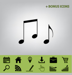 Music notes sign black icon at gray vector