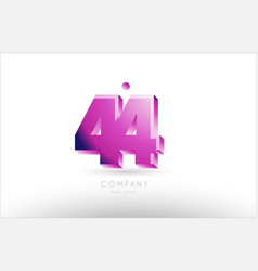 Number 44 black white pink logo icon design vector