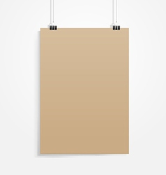 Old brown paper with clip vector