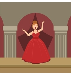Opera Singer In Red Dress Performing On Stage vector image vector image