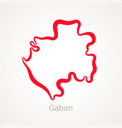 Outline map of gabon marked with red line vector