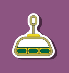 Paper sticker on stylish background cabin ski lift vector