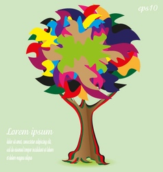 Patchwork Tree card or logo vector image