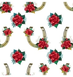 Pattern with horseshoes rabbit foots and roses vector