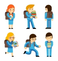 Pupils with textbooks vector