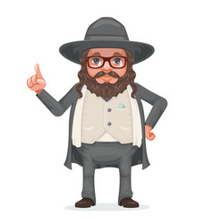 Rabbi payot beard traditional jewish costume hold vector
