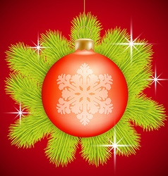 Red christmas baubles vector