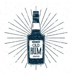 Retro rum bottle label design Vintage alcohol vector image vector image