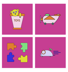 Set of children toys in different sets in flet on vector