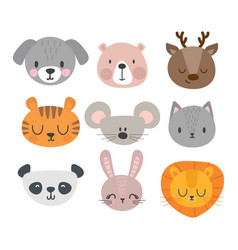 set of cute hand drawn smiling animals cat deer vector image