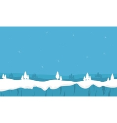 Snowy winter landscape with christmas trees vector