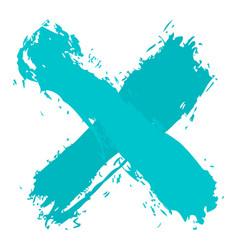 Turquoise criss cross brushstroke delete sign vector