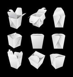 white empty paper boxes for chinese fastfood set vector image vector image