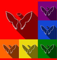 Wings sign set of icons with vector