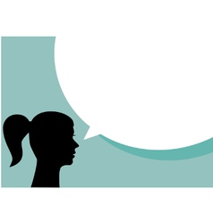 Woman with blank speech bubble vector image vector image