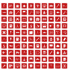 100 compass icons set grunge red vector