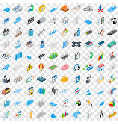 100 electricity icons set isometric 3d style vector