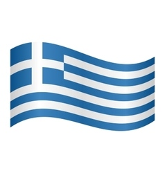 Flag of Greece waving on white background vector image