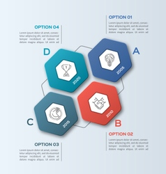 Infographic template with hexagons 4 options vector