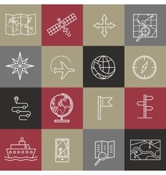 Set of modern linear icons with geography elements vector