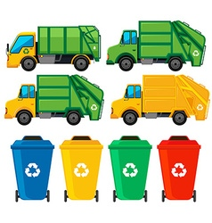 Rubbish cans and trucks vector