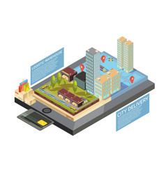 goods online city delivery isometric infographics vector image