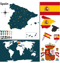 Spain map world vector