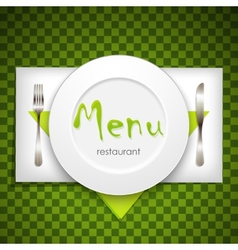 restaurant menu design with plate and silverware vector image