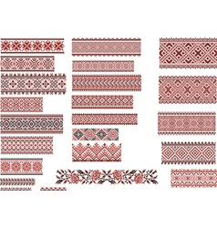 Patterns for Embroidery Stitch Red and Black vector image