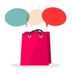 Shopping bag with empty speech bubbles isolated on vector